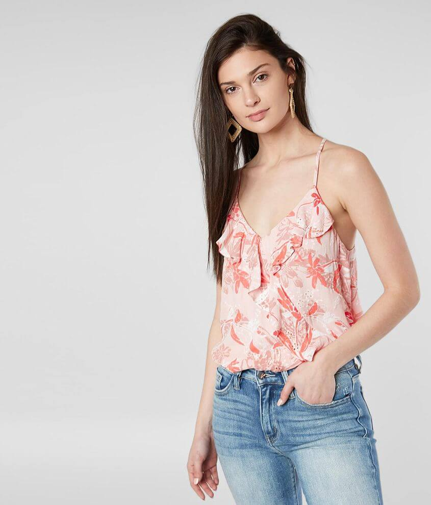 Miss Me Embroidered Ruffle Tank Top front view