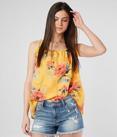 5836f65f731f8 Miss Me Floral Chiffon Tank Top