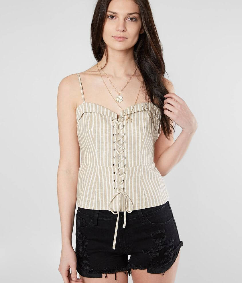Miss Me Striped Corset Tank Top front view