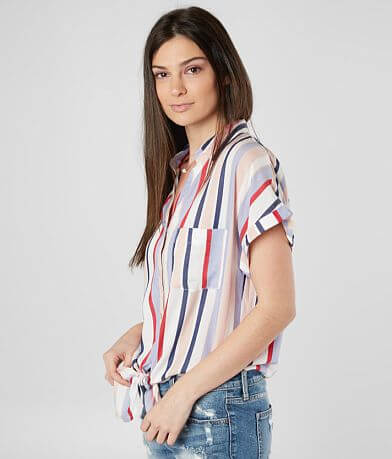 Miss Me Striped Front Tie Shirt