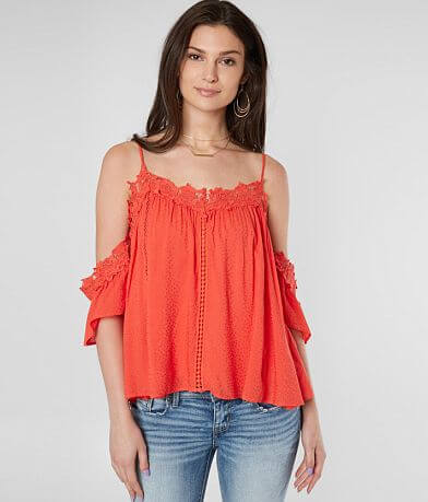 Miss Me Cold Shoulder Lace Trim Top