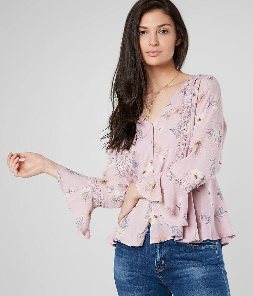 Miss Me Floral Print Ruffle Blouse front view