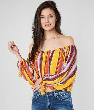 Miss Me Striped Off The Shoulder Top