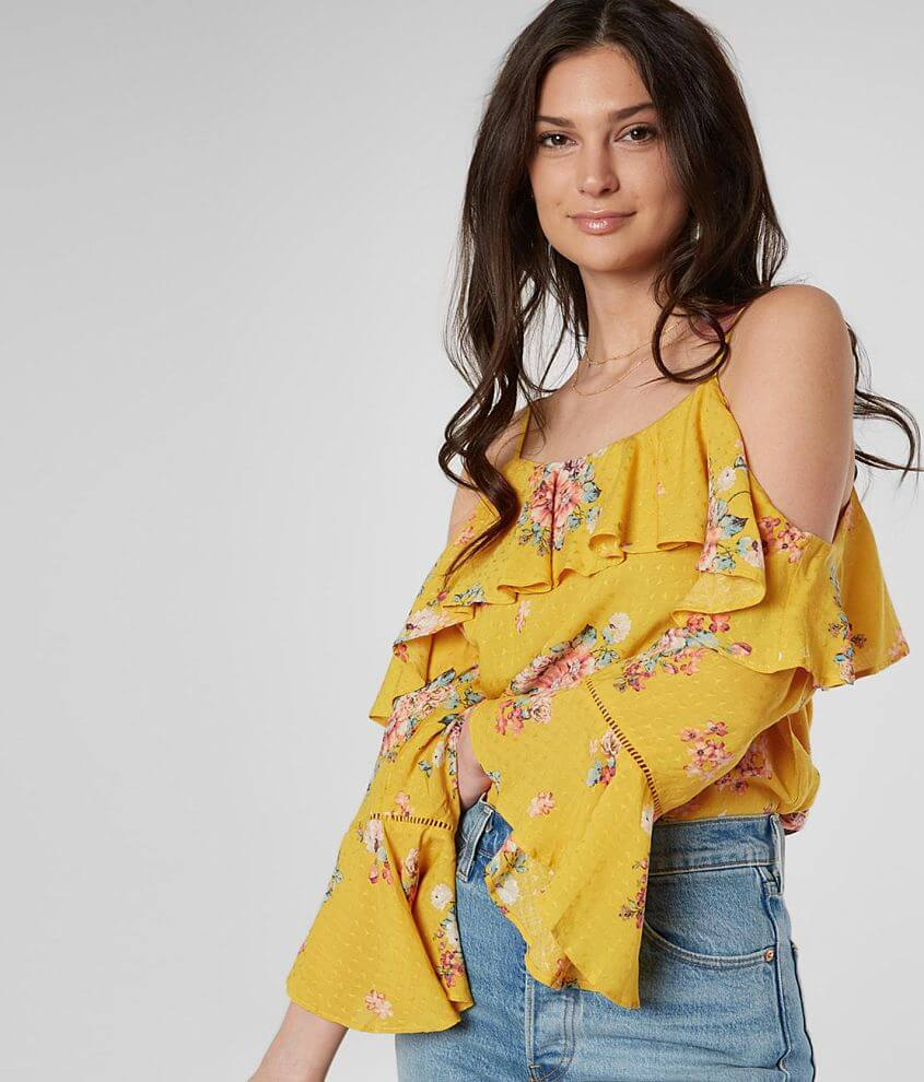 41e247930ce24 Miss Me Floral Cold Shoulder Top - Women s Shirts Blouses in Yellow ...