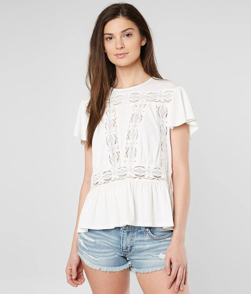 Miss Me Pieced Lace Top front view