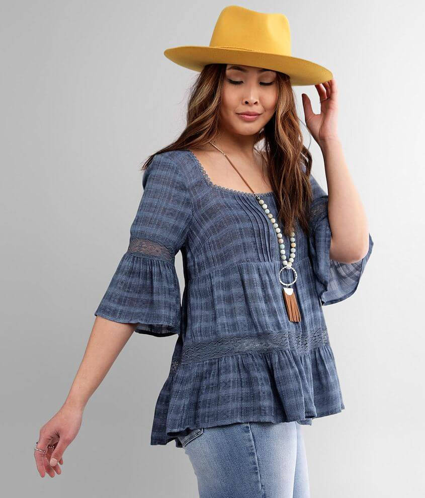 Miss Me Textured Square Neck Pleated Top front view