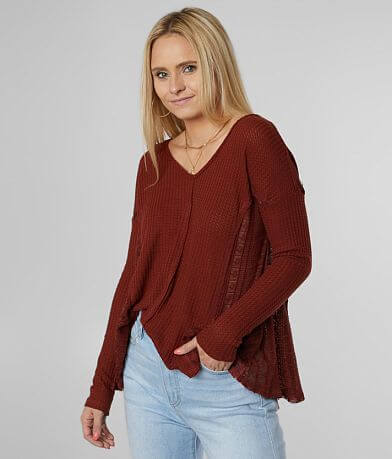 Miss Me Thermal V-Neck Swing Top