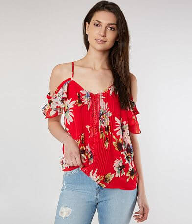 Miss Me Cold Shoulder Floral Top