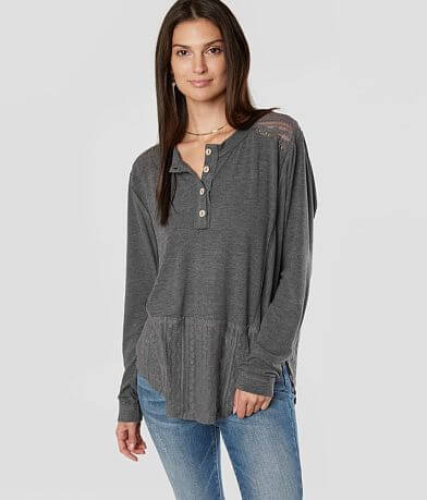 Miss Me Pieced Lace Henley Top