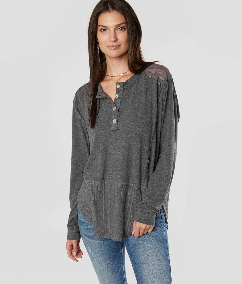 Miss Me Pieced Lace Henley Top front view