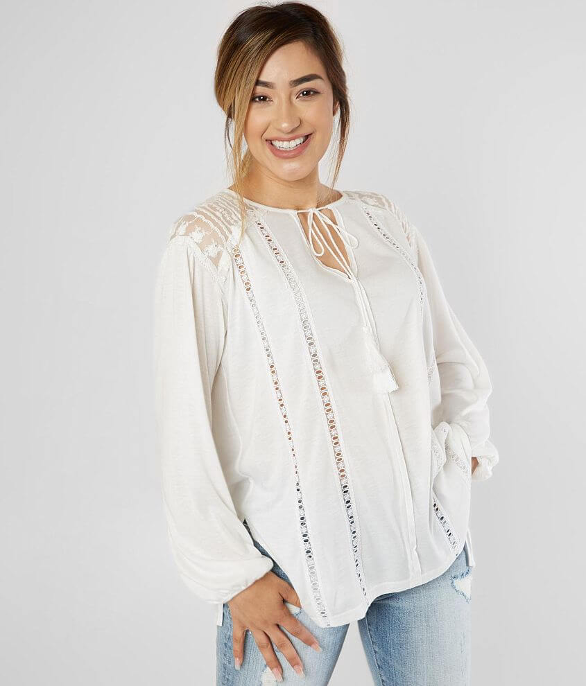 Miss Me Lace Inset Peasant Top front view