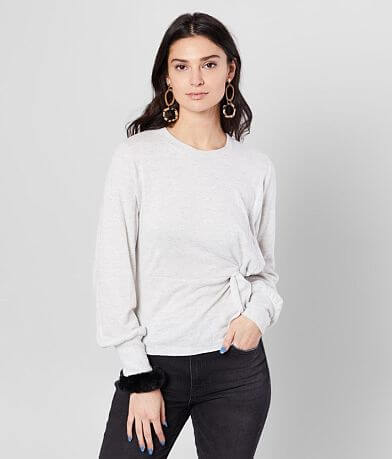 Miss Me Twisted Peplum Sweater