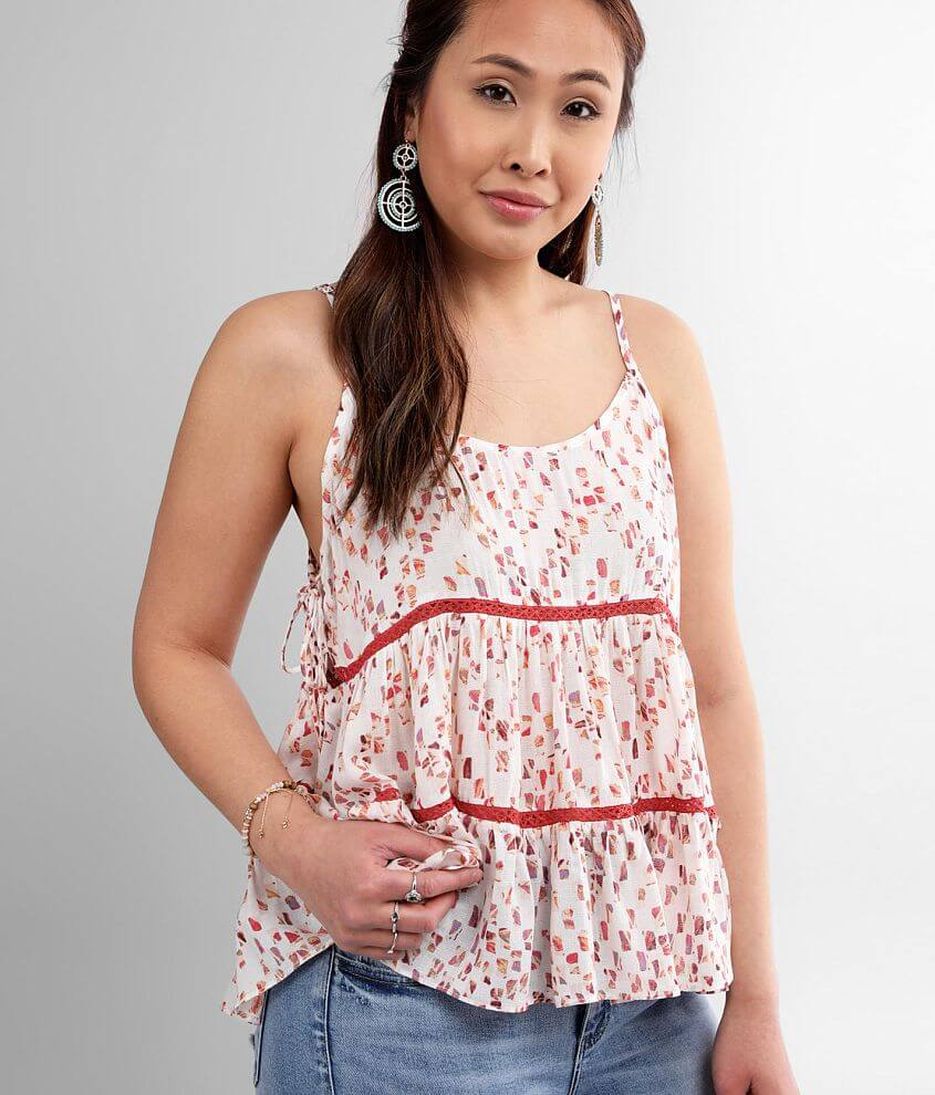 Miss Me Woven Pointelle Tiered Tank Top front view
