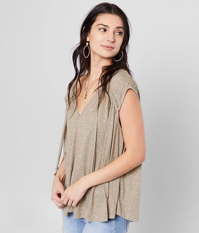 Miss Me Heathered Knit V-Neck Top front view