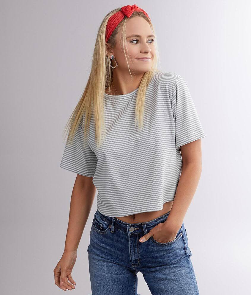 Miss Me Back Cinch Tie Striped Top front view