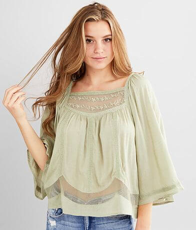 Miss Me Crochet Mesh Peasant Top