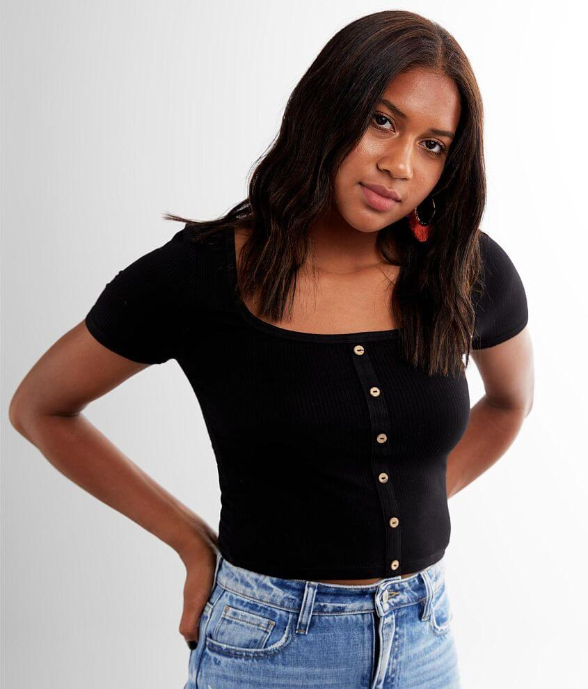 Miss Me Ribbed Square Neck Cropped Top front view