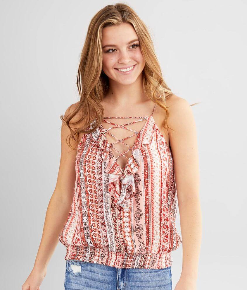 Miss Me Printed Lace-Up Tank Top front view