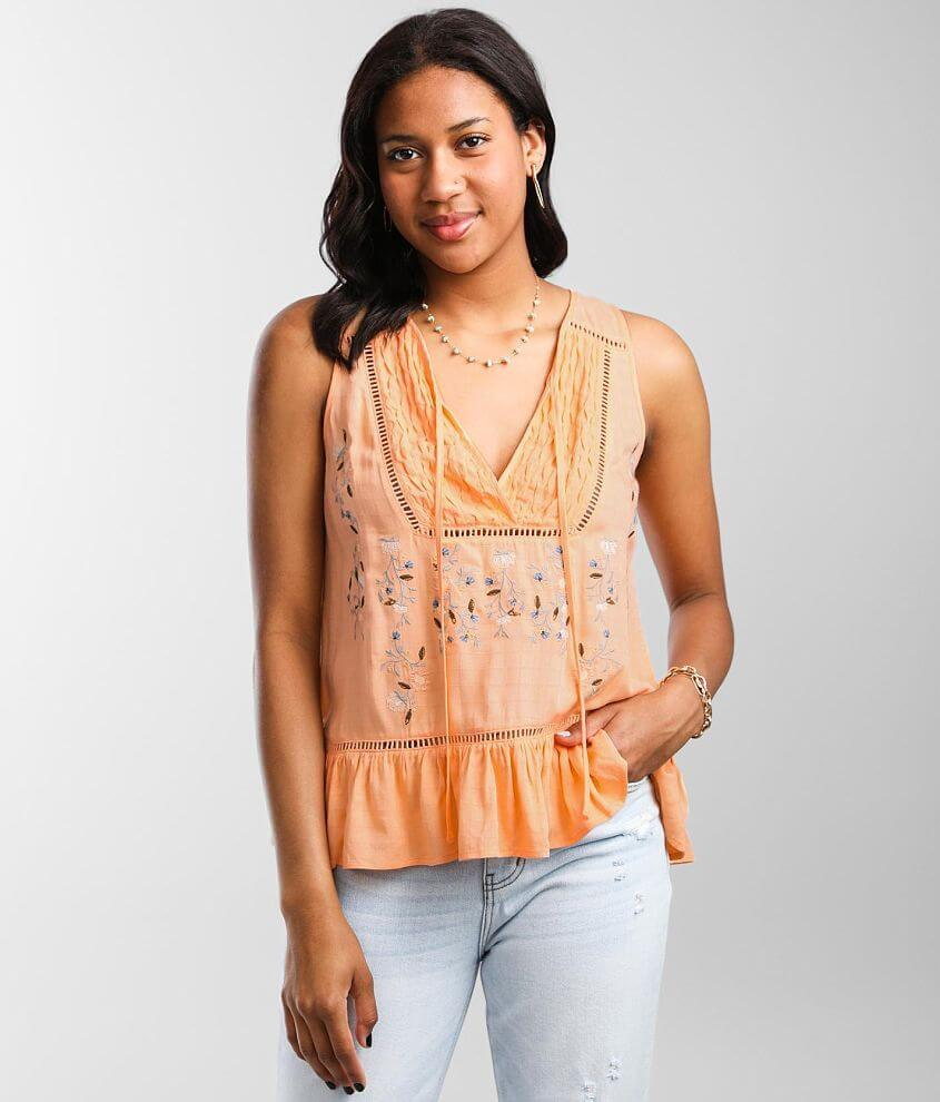 Miss Me Embroidered Floral Tank Top front view