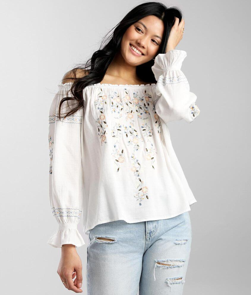 Miss Me Embroidered Off The Shoulder Top front view