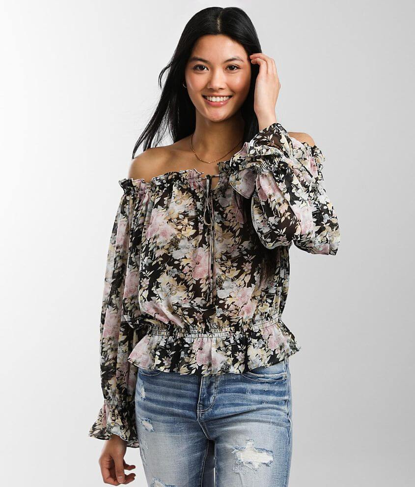 Miss Me Floral Chiffon Ruffle Top front view