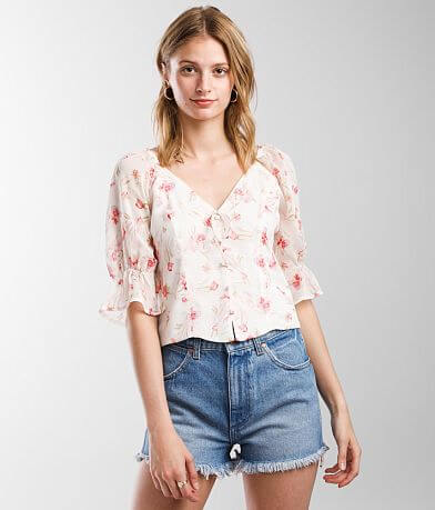 Miss Me Crinkle Floral Chiffon Cropped Top