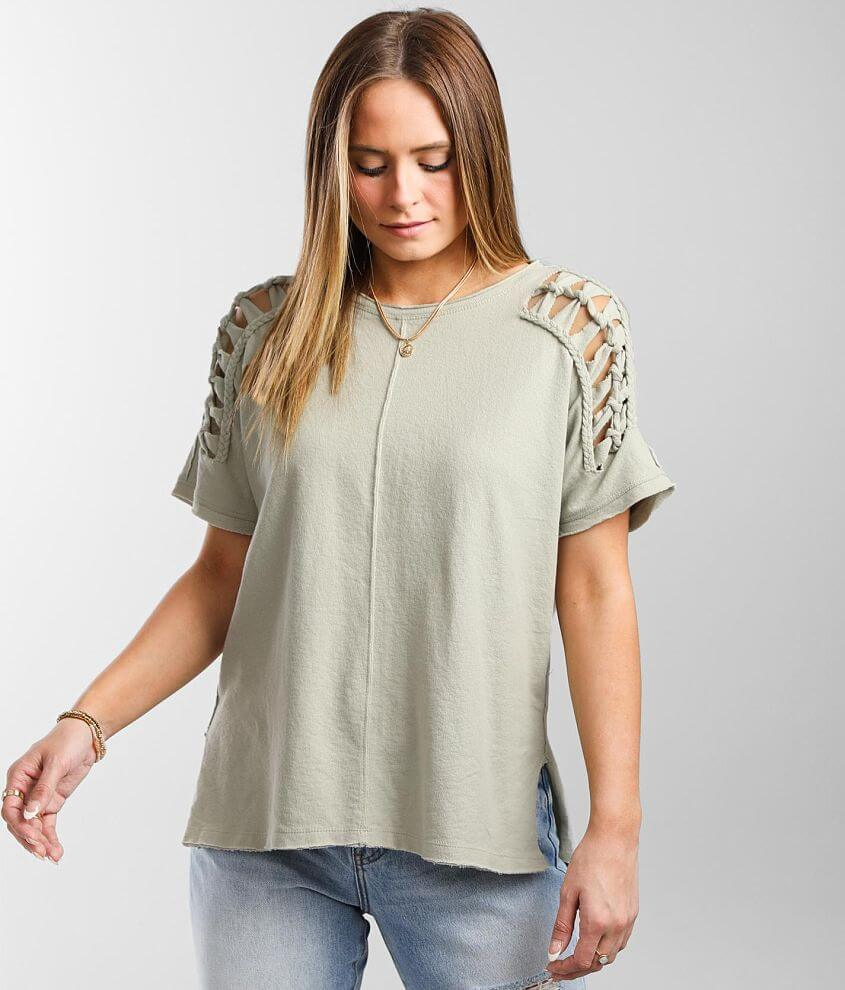 Miss Me Braided Knit Top front view
