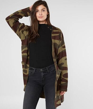 Miss Me Camo Cardigan Sweater