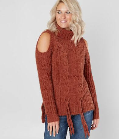 Miss Me Cold Shoulder Turtleneck Sweater