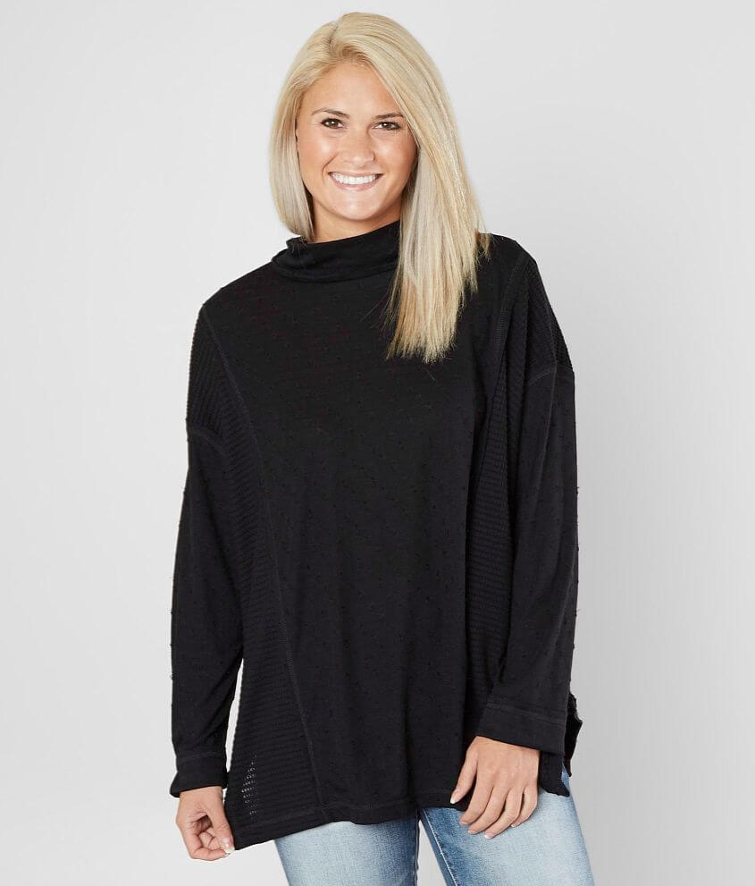 Miss Me Mock Neck Oversized Dolman Top front view