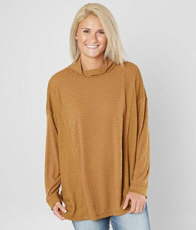 Miss Me Mock Neck Oversized Dolman Top