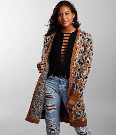 Daytrip Eyelash Leopard Duster Cardigan Sweater