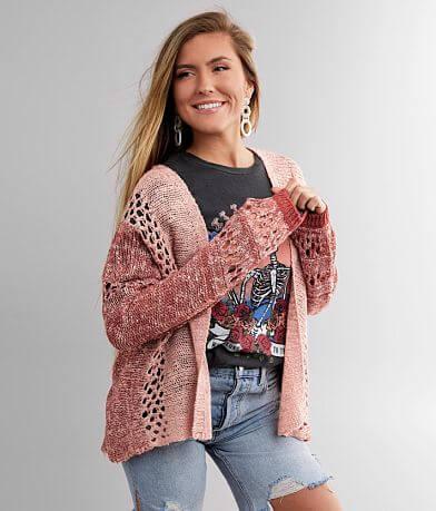 BKE Marled Two Tone Cardigan Sweater