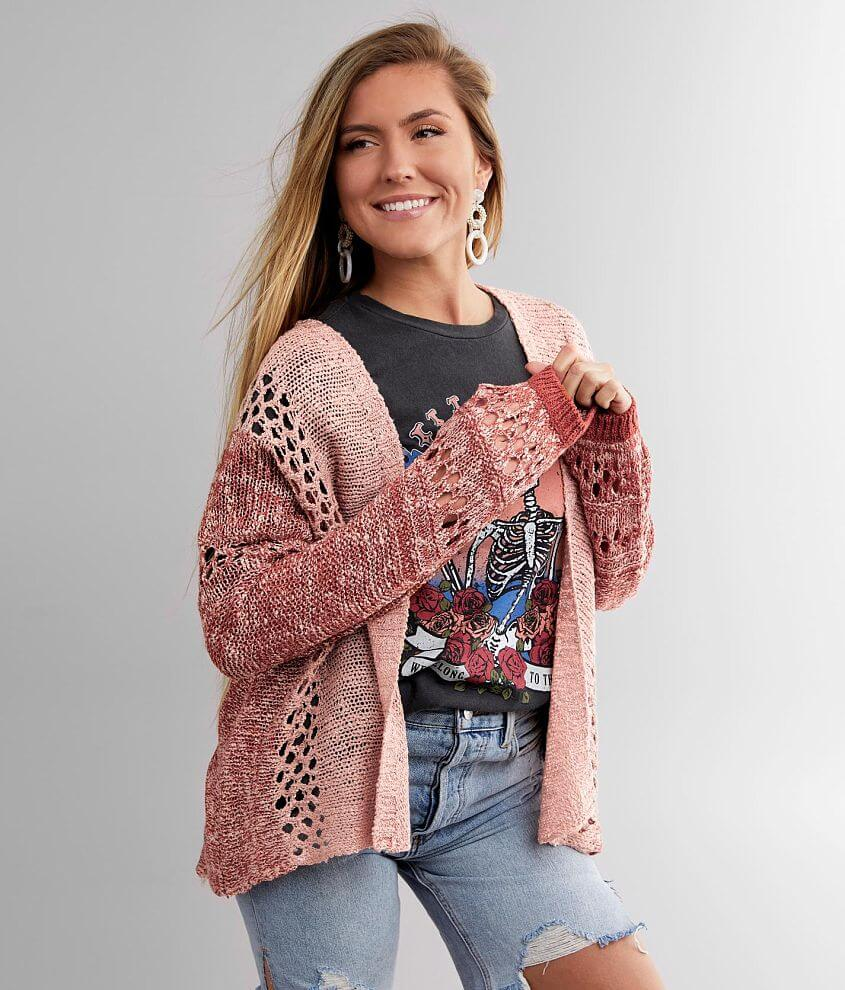 BKE Marled Two Tone Cardigan Sweater front view