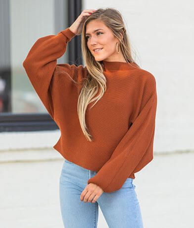 Willow & Root Mock Neck Cropped Pullover Sweater