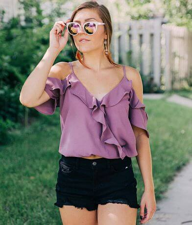 Moa Moa Ruffle Cold Shoulder Top