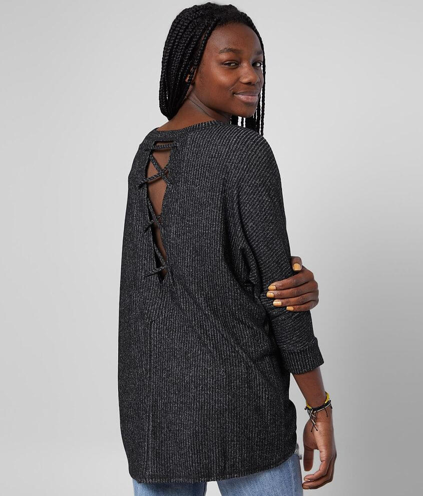 BKE Brushed Hacci Dolman Top front view