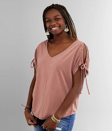 red by BKE Double V-Neck Top