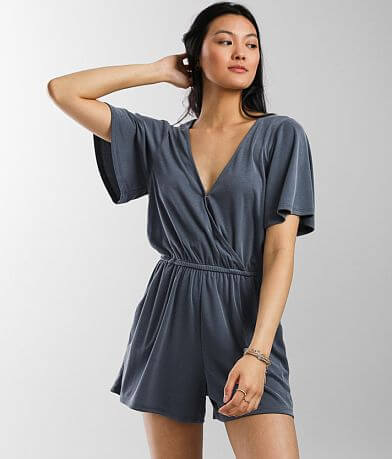 Daytrip Surplice Ribbed Romper