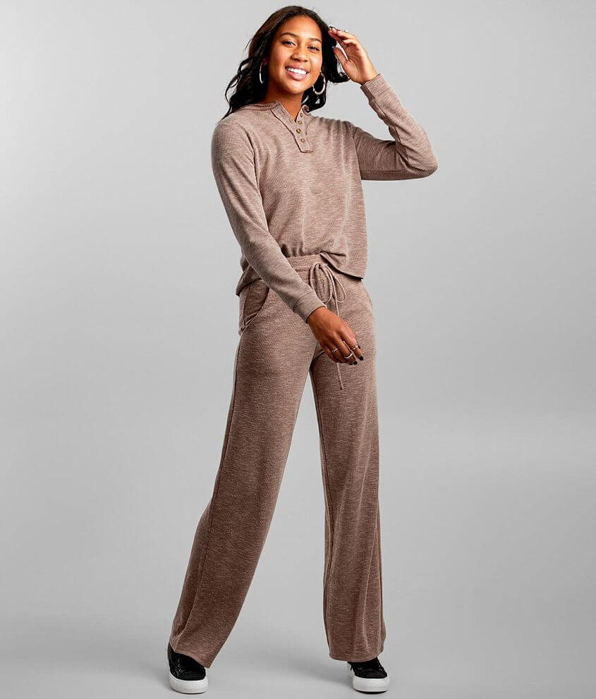 BKE Ribbed Wide Leg Lounge Pant