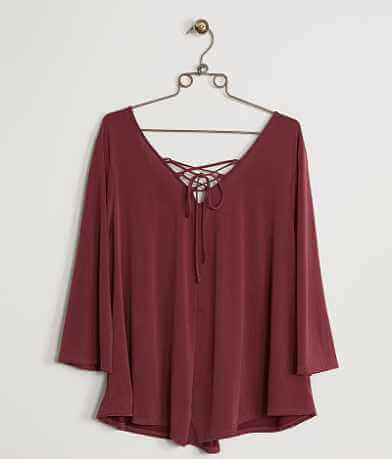 Moa Moa Lace-up Top - Plus Size Only