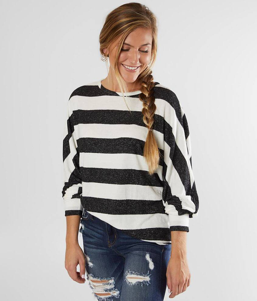 BKE Striped Hacci Top front view