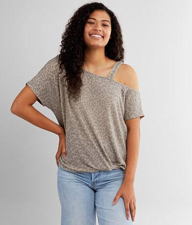 Daytrip Cold Shoulder Cheetah Print Top