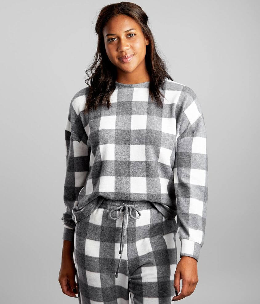 BKE Brushed Buffalo Plaid Pullover front view