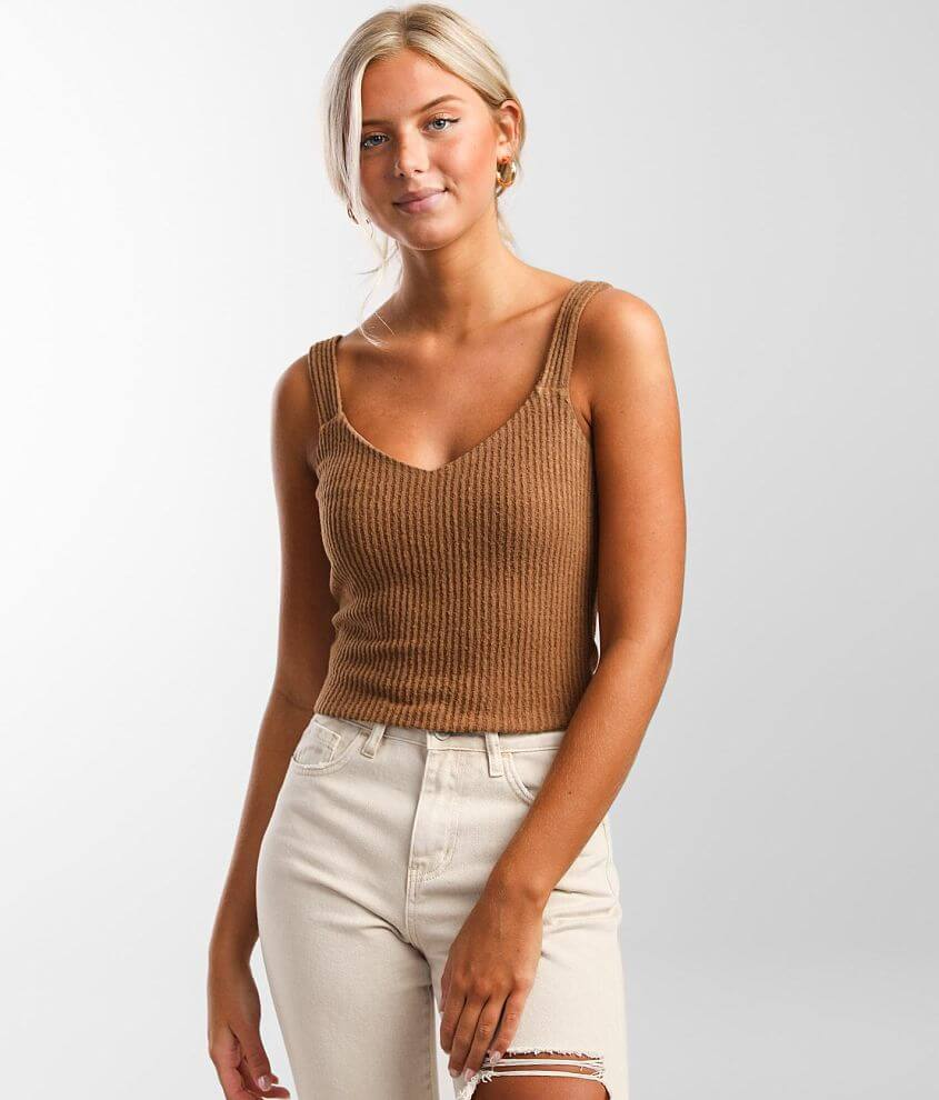 Willow & Root Brushed Knit Ribbed Tank Top front view