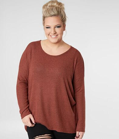 Daytrip Brushed Fleece Ribbed Top - Plus Size Only