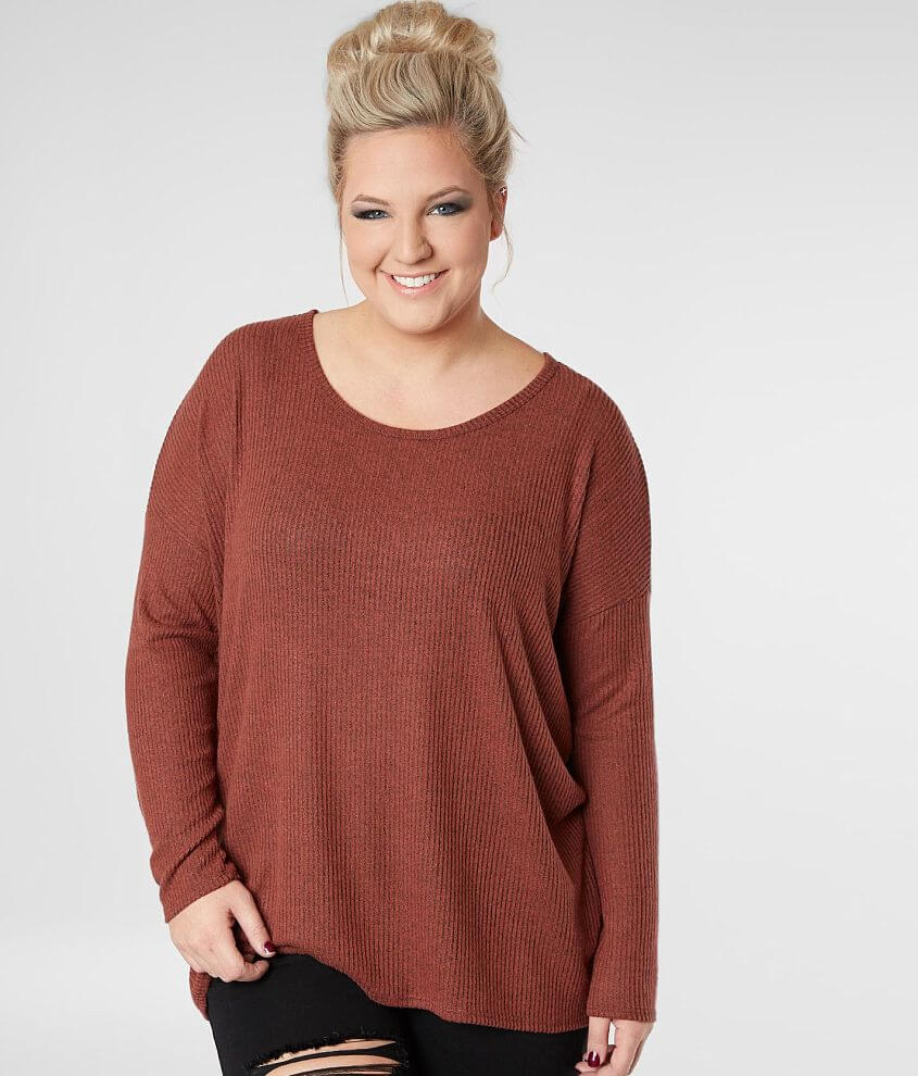38976e2bc62 Daytrip Brushed Fleece Ribbed Top - Plus Size Only - Women s Shirts ...