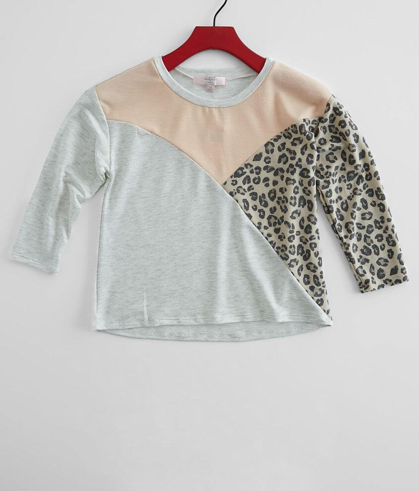 Girls - Moa Moa Pieced Animal Print Top front view