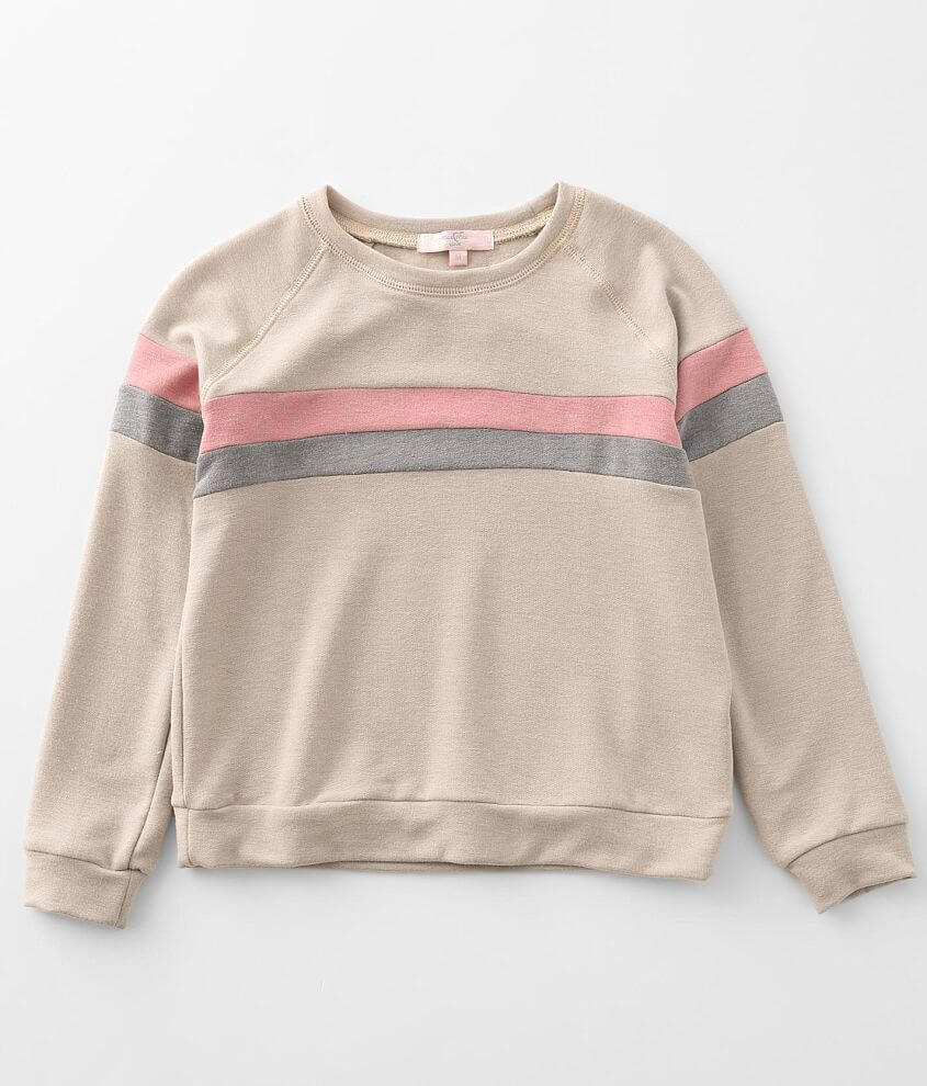 Girls - Moa Moa Brushed Knit Color Block Pullover front view