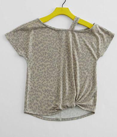 Girls - Daytrip Cold Shoulder Cheetah Print Top